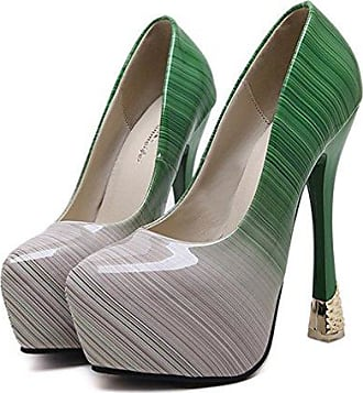 Xianshu Damen Steigung Farbe Stilett High Heels Single Shallow Mund Schuhe Pumps(Grün-36)