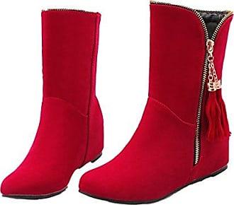Xianshu Damen Wohnung Mittleres Kalb Reißverschluss Keilabsatz Shoes Quaste Slouch Boot (Braun-35.5 EU)