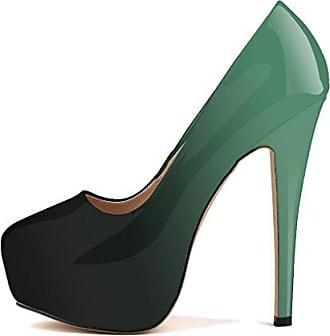 Xianshu Frauen Lackleder High Heel Stilett Flache Mund Schuhe Gradienten Kampf Farbe Pumpen(Blue-39 EU)