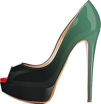 Xianshu Frauen Lackleder High Heel Stilett Flache Mund Schuhe Gradienten Kampf Farbe Pumpen(Green-35.5 EU)