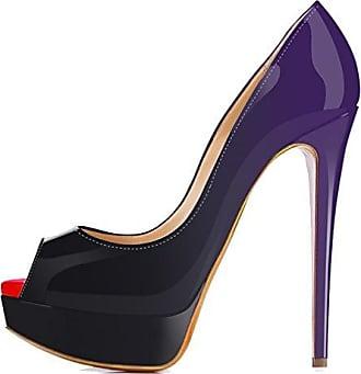 Xianshu Womens Lackleder High Heel Low Heel Wrestling Steigung Farbe Pumps Schuhe(Purple-35.5 EU)