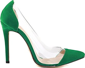 Xianshu Pointed Toe Transparent Glue Stitching High Heel Shoes Shallow Mouth Stiletto Pumps (Green-42 EU)