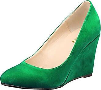 Xianshu Women Point Toe Shallow Mouth Shoes Wedge Heel Single Shoes Solid Color Pumps(Green-40 EU)