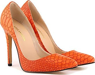 Xianshu Womens Fashion Shallow Mouth Closed-Toe High Heel Shoes Pumps(Orange-42 EU)