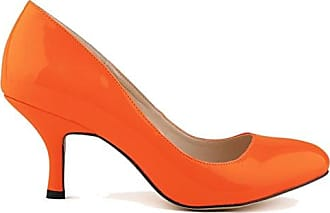 Xianshu Womens Fashion Shallow Mouth Closed-Toe High Heel Shoes Pumps(Orange-42 EU)