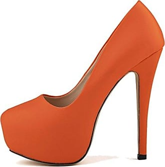 Xianshu Womens Fashion Shallow Mouth Closed-Toe High Heel Shoes Pumps(Orange-35 EU)