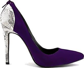 Xianshu Women Point Toe Shallow Mouth Shoes Wedge Heel Single Shoes Solid Color Pumps(Purple-39 EU)