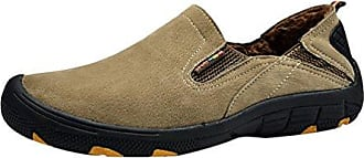 Yiiquan Herren Leichtgewicht Low-Top Schuhe PU Leder Slip On Freizeit Wärme Loafers Sport Schuhe Grau 38