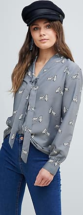 Blouse with Pussybow in Polar Bear Print - Grey Yumi