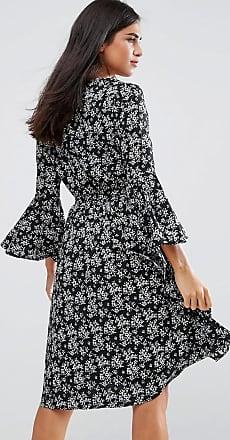 Flare Sleeve Dress In Floral Print - Black Yumi