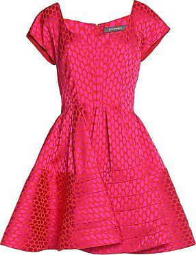 Zac Posen Woman Flared Pleated Jacquard Mini Dress Fuchsia Size 14 Zac Posen