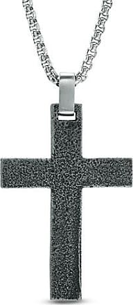 Zales Mens Mesh Textured Square Cross Pendant in Stainless Steel with Two-Tone IP - 24