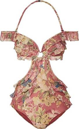 Bayou Ruffled Floral-print Bandeau Bikini - Beige Zimmermann