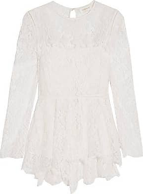 Zimmermann Woman Corded Lace-trimmed Pleated Crepe De Chine Blouse White Size 0 Zimmermann