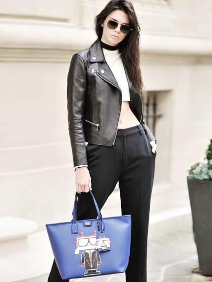 Wir wollen eine schwarze Lederjacke à la Kendall Jenner (die Tasche nehmen wir aber auch)