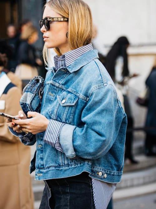 Xxl jeansjacken pernille teisbaek zeigt uns das wichtigste basic unseres kleiderschranks - Jeansjacke damen oversize ...