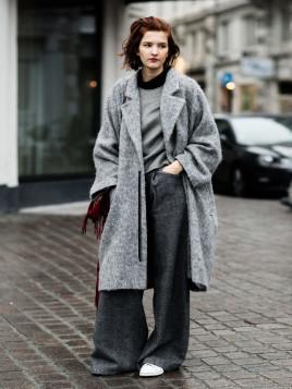 Grauer Oversize-Mantel für Damen