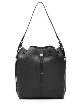 Bucket-Bag Prisma aus Leder - Schwarz
