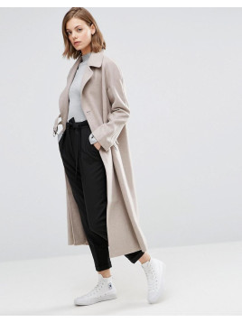 Duster Coat in Wool With D-Ring Detail - Oatmeal