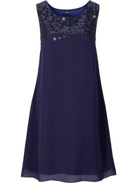 Kleid mit Paillettenapplikation ohne Ärmel in blau von bonprix