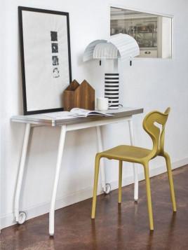 Table pliante modulable BLITZ BOOK de CALLIGARIS blanche avec roulettes