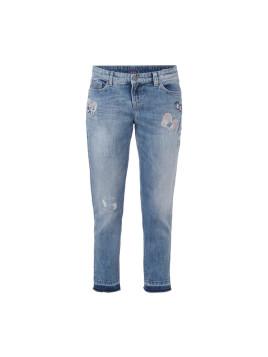5-Pocket-Jeans mit Schmetterlings-Aufnähern