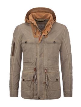 Übergröße: camel active, Vintage-Fieldjacket mit kontrastfarbener Kapuze in Schlamm für Herren