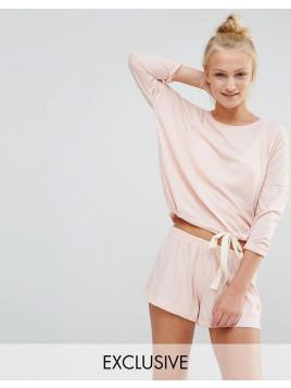 Weiches Pyjama-Set in Pfirsich mit Shorts zum Binden - Rosa
