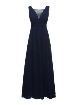 Abendkleid mit Ziersteinen am Ausschnitt blau