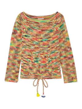 Schulterfreier Pullover aus einer melierten Baumwollmischung