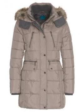 Damen Steppmantel Wintermantel für kalte Wintertage figurnah grau