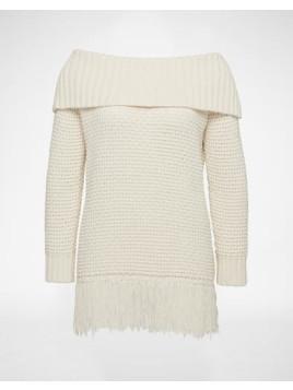 Off-Shoulder Pullover Delia Damen weiss/beige