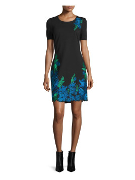 Royce Floral-Embroidered Sheath Dress, Black, Womens