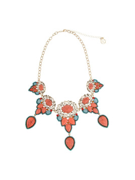 Goldtone Coral Me Bad Stone Clusters Statement Necklace