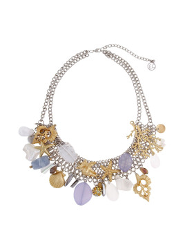 Two Tone White Out Statement Necklace
