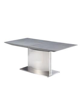 Esstisch Toleos (mit Ausziehfunktion) - Grau / Silber, furnlab