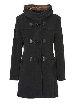 Mantel, Dunkelgrau, L: 85 cm, für Frauen, Kapuze, klassisches Design, mit Eingrifftaschen