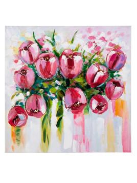 Unisex Originalgemälde »Tulpen« weiß H/B ca. 100/100 cm Jedes Stück ein Einzelstück