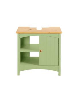Waschbecken-Unterschrank grün 1 Tür, 2 offene Fächer Aus FSC-zertifiziertem Holz