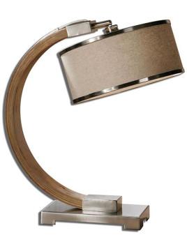 Metauro Desk Lamp - 21.25Hx12Diam Polished Chrome And Natural