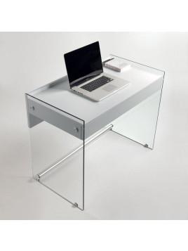 Bureau TOKIO 1 tiroir blanc mat piétement en verre