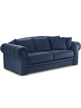 Canapé CHESTERFIELD convertible système RAPIDO Couchage 120 * 200 cm tissu tweed bleu jeans