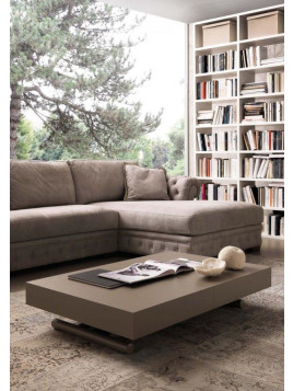 Table basse relevable extensible BLOCK design taupe