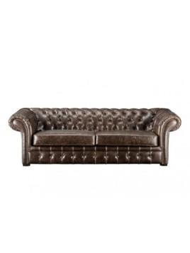 Chesterfield Ledersofa 3-Sitzer Clotaire - Vintage Leder
