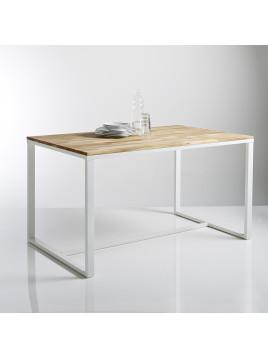 Table 4 couverts, en chêne massif abouté et acier, Hiba