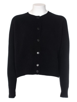 Black shaved virgin wool cardigan