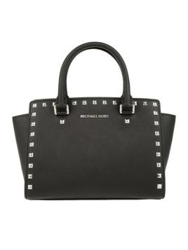Tasche - Selma Studded MD TZ Satchel Black - in schwarz - Henkeltasche für Damen