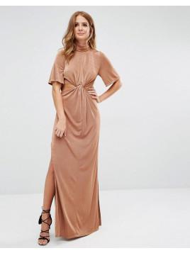 Kleid mit Zierausschnitten - Bronze