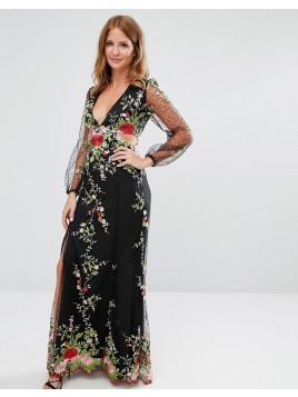 Besticktes Kleid aus Spitze - Schwarz