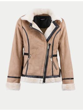 Manteau effet peau lainée et simili cuir |RIEN| beige